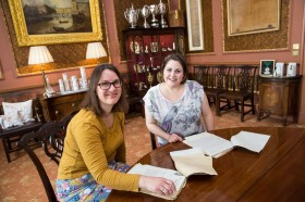 The Bath Records Office. Hannah Little and Jessica Smith look through the WWI letters sent to the Mayor during the war.  June 2015. Photographer Freia Turland e:info@ftphotography.co.uk m:07875514528