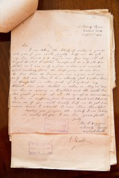 The Bath Records Office. A WWI letter from Mrs S. Higgins asking about her son addressed to the Mayor of Bath. June 2015. Photographer Freia Turland e:info@ftphotography.co.uk m:07875514528 Click on images to enlarge.