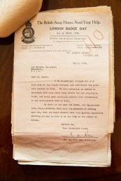The Bath Records Office. A WWI letter from the RSPCA for the request of a Badge / Flag Day to raise funds for sick and wounded war horses addressed to the Mayor of Bath. June 2015. Photographer Freia Turland e:info@ftphotography.co.uk m:07875514528