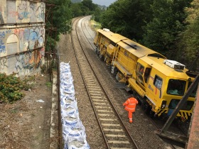 New ballast being laid near the semi-derelict terrace of Cleveland Row.