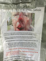 The shockingly graphic posters that have been erected. Click on the image to enlarge.