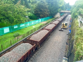 New ballast arriving in Sydney Gardens.