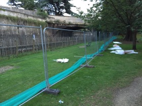 The Network Rail barriers in Sydney Gardens are coming down.