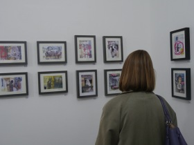 A guest taking in some of Mike's new works on display at the 44AD gallery. Click on images to enlarge.