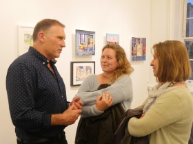Mike in conversation with gusts at the private opening view of his new solo exhibition.