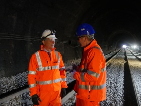 That's me on the left chatting to Consultant Civil Engineer John Buxton.