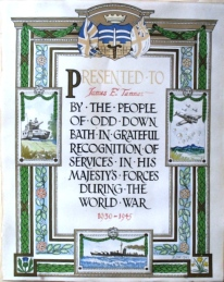 The certificate presented to James Tanner. Click on images to enlarge.