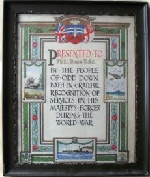 The certificate presented to Flt Lt Davis DFC.