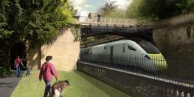 Proposed solution for iron bridge and low balustrade wall. Seems Brunel's last remaining iron bridge on the line - which will be conserved - has some sort of apron to protect people against the high power line passing beneath it. © Network Rail