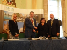 L to R Chief Executive Jo Farrar; Council Chair. Cllr Ian Gilchrist; Hon Alderwoman Sharon Ball and Vice Chairman Cllr Alan Hale.