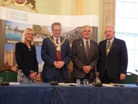 L to R Chief Executive Jo Farrar; Council Chair. Cllr Ian Gilchrist; Hon Alderman      Bryan Chalker and Vice Chairman Cllr Alan Hale.