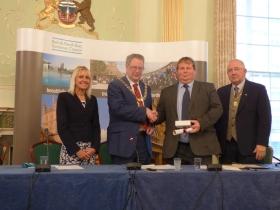L to R Chief Executive Jo Farrar; Council Chair. Cllr Ian Gilchrist; Hon Alderman   Gerry Curran and Vice Chairman Cllr Alan Hale.