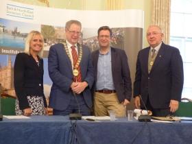 L to R Chief Executive Jo Farrar; Council Chair. Cllr Ian Gilchrist; Hon Alderman       Dave Dixon and Vice Chairman Cllr Alan Hale.