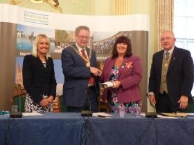 L to R Chief Executive Jo Farrar; Council Chair. Cllr Ian Gilchrist; Hon Alderwoman Loraine Morgan-Brinkhurst and Vice Chairman Cllr Alan Hale.