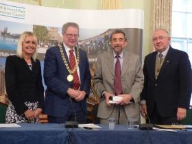 L to R Chief Executive Jo Farrar, Council Chair. Cllr Ian Gilchrist; Hon Alderman  Brian Webber and Vice Chairman Cllr Alan Hale.