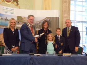 L to R Chief Executive Jo Farrar; Council Chair. Cllr Ian Gilchrist; Hon Alderwoman Jo Bellotti and her children and Vice Chairman Cllr Alan Hale.