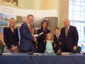L to R Chief Executive Jo Farrar; Council Chair. Cllr Ian Gilchrist; Hon Alderwoman Jo Bellotti and her children and Vice Chairman Cllr Alan Hale.