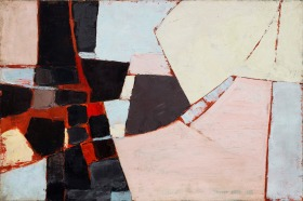 'Composition- Black, Pink, Yellow and Grey' - painted by Adrian Heath in 1957 and now acquired for Bath's Victoria Art Gallery. Click on images to enlarge.