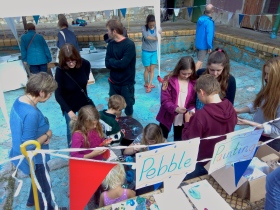 The Pebble Painting (run by volunteer Alex Geddis), the Information stall and the Merchandise were all stationed in the Children's Pool.