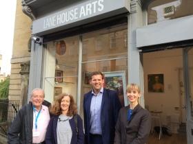 Outside Jenny's Lane House Art Gallery. Left to right: Cllr Peter Turner - Abbey Ward - Jenny Pollitt, Ben Howlett MP, and Cllr Fiona Darey - Walcot Ward.