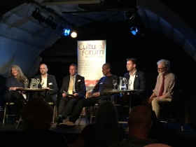 The panel at the Cultural Forum's discussion on the cultural and creative economy held at Burdall's Yard - Bath Spa University's venue for music and the performing arts.