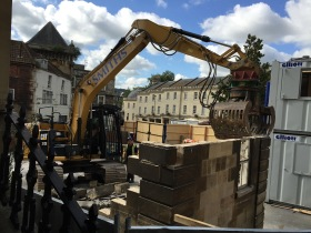 Demolition work underway on the Saw Close site.