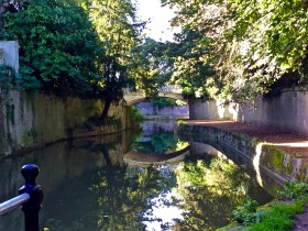 The canal towpath through Bath's Sydney Gardens.