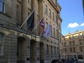 The flags are up above the Beau Street entrance to the new Gainsborough Bath Spa Hotel. Click on images to enlarge.
