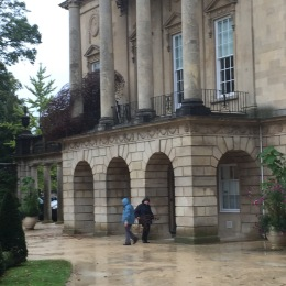 Dismantling the 'Murmuration' on the facade at the Holburne Museum.