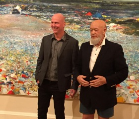 Kurt Jackson with Michael Eavis at the Victoria Gallery opening.