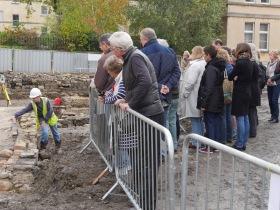 Pipe expert Marek Lewcun showing people were the kilns lay.
