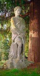 Pieroni's statue of Bladud, as it stood on the terrace of 'Springfield' nursing home. The head appears out of proportion owing to the entasis needed for it to be viewed from below.