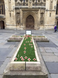 The annual temporary war memorial erected outside Bath Abbey for people to plant poppy crosses.