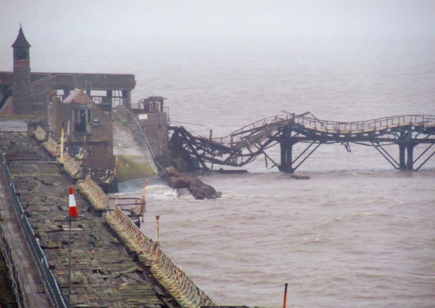 Storm damage to Weston's Old Pier.