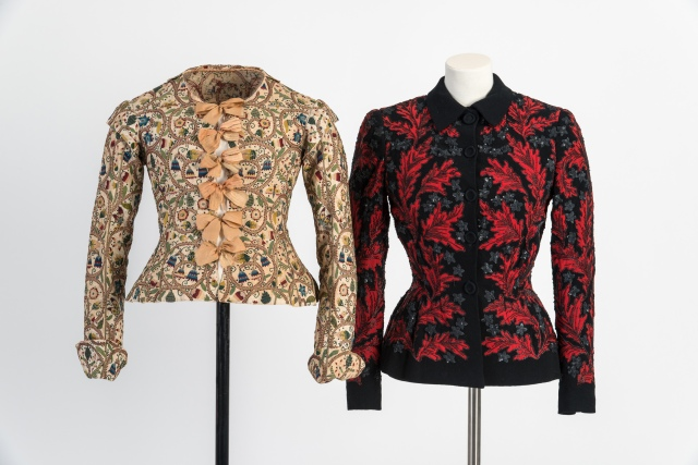 ID02 I75 Embroidered woman's waistcoat, 1610s (left) Embroidered jacket by Lucien Lelong, 1948 (right)