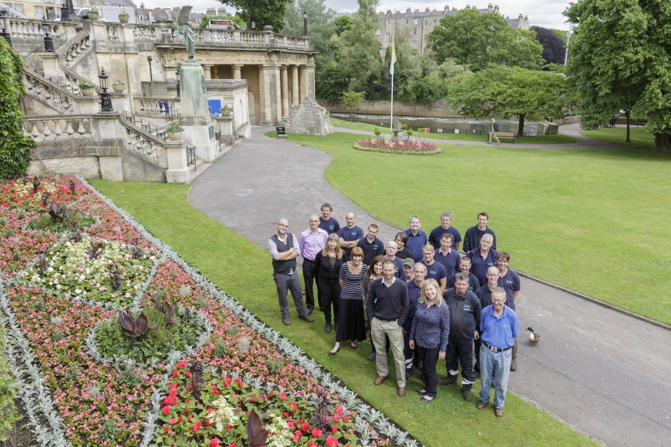 Award-winning parks team at Bath and North East Somerset pose at Parade Gardens in Bath.