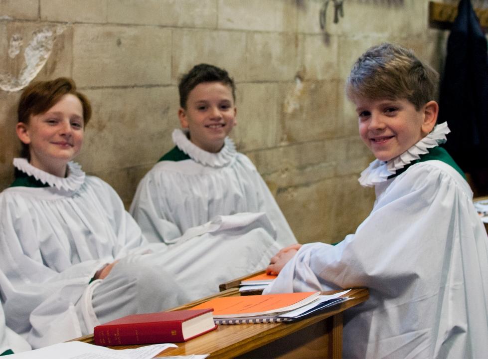 19 Choir boys laughing prior to 0930 service 19 Feb 17
