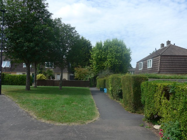 One of the green areas where children play