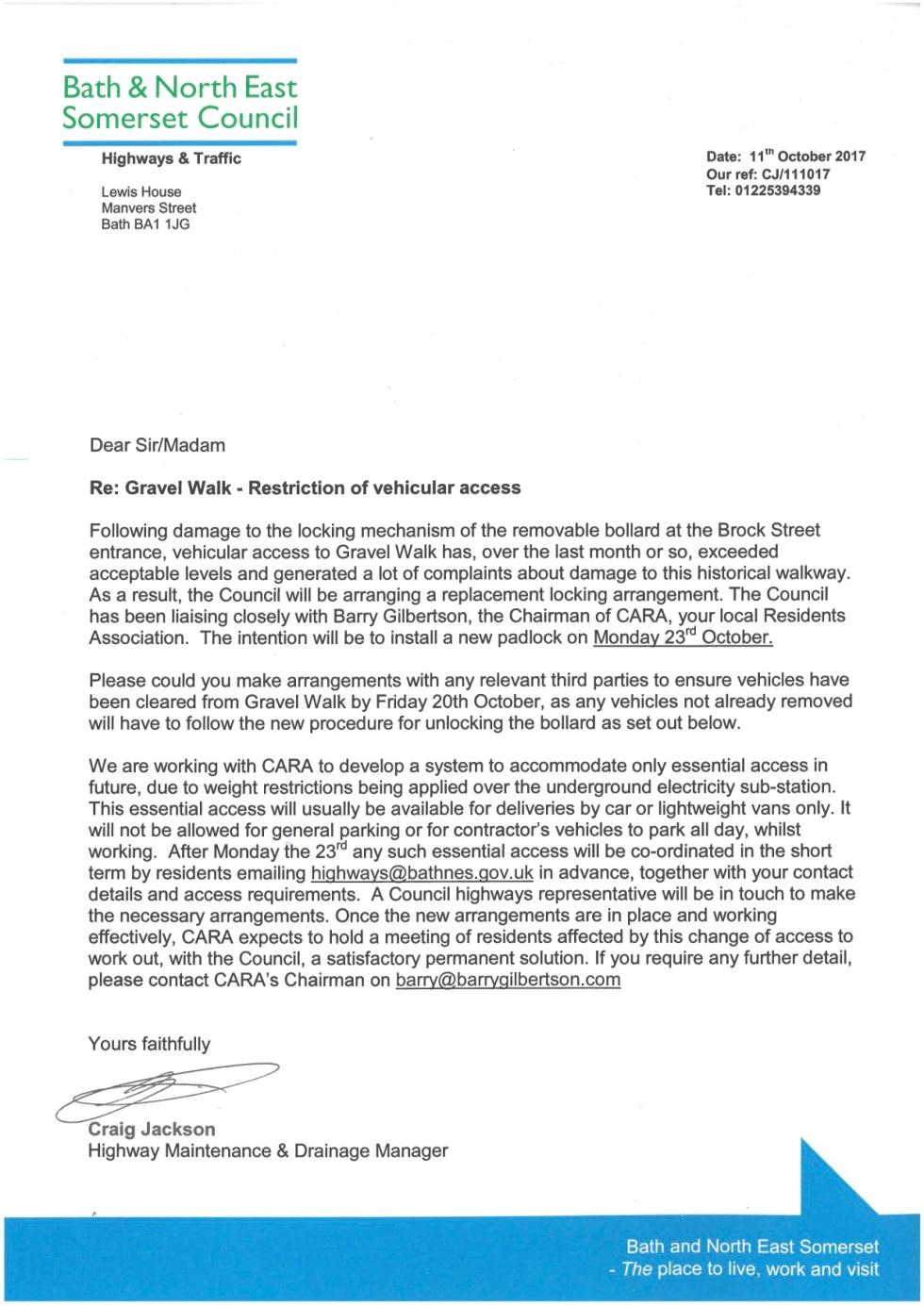 Gravel Walk Residents letter