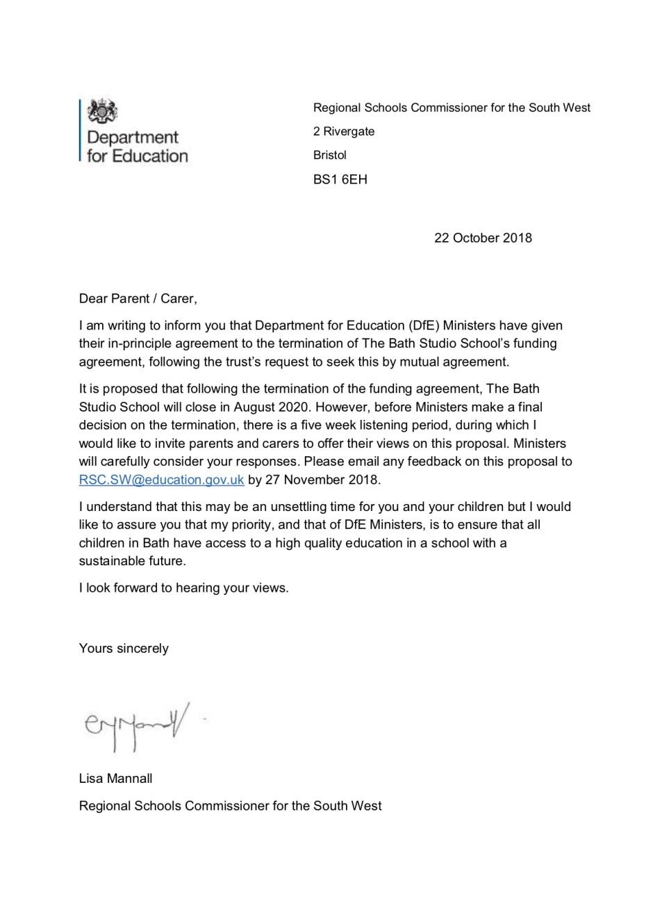 181022 RSC letter to parents