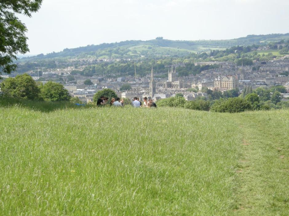 view across Bath with picnickers