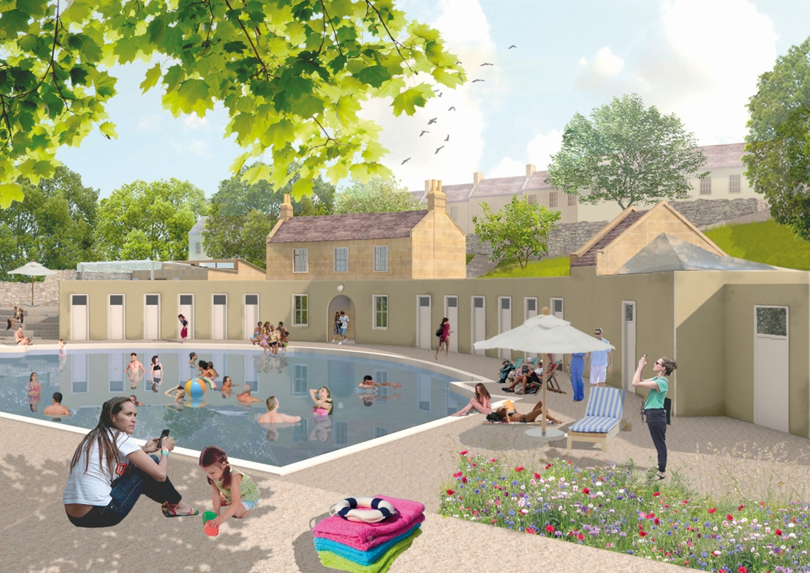 Cleveland Pools CGI of main pool and buildings