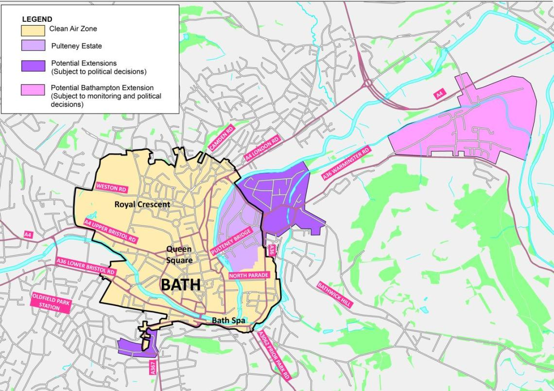 Map of proposed zone extensions (common to both Class C and D CAZ proposals)