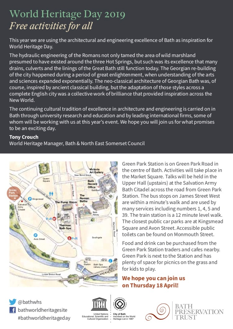 Bath World Heritage Day 2019 leaflet - email and web