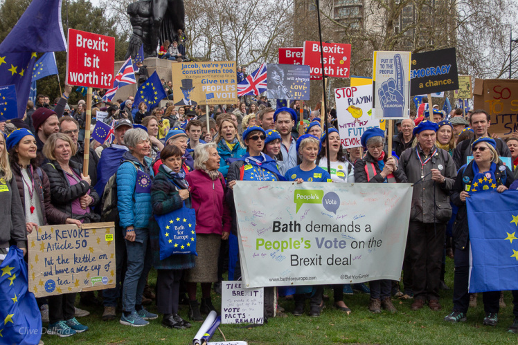 Bath for Europe supporters at the 'one million march in March 19. Credit Clive Dellard