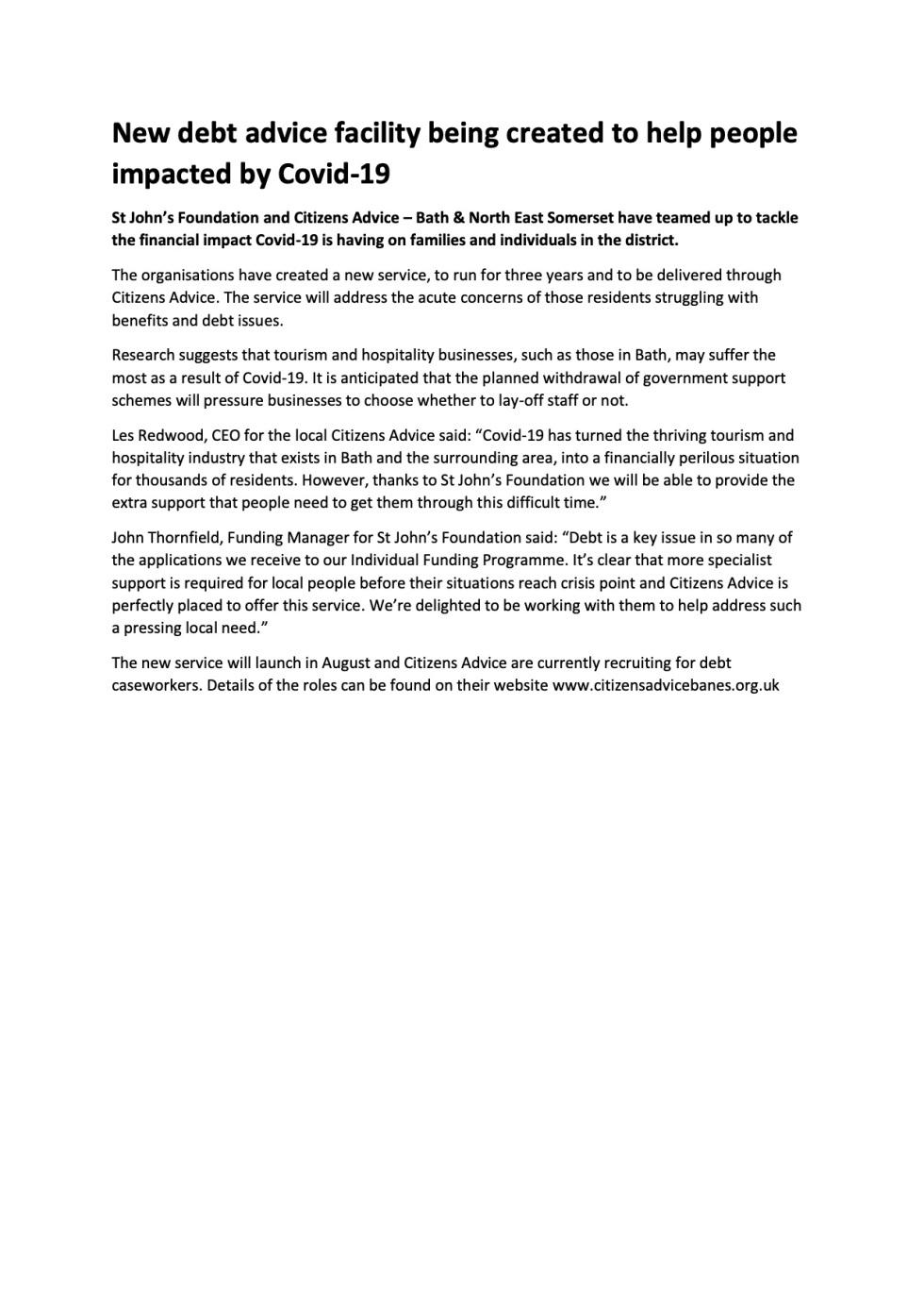 Press release - Citizens Advice BANES Debt Hub